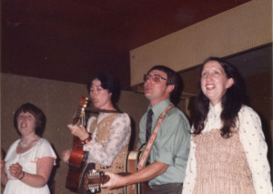 Folk group Tantivy singing at the golden wedding L to R Sylvia Fereday,Jean Meacham, Geoff Shakespeare and Ruth Fereday